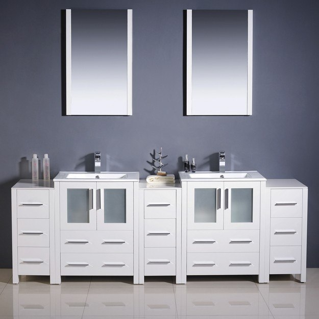 Fresca fvn62 72wh uns torino 84 inch white modern double sink bathroom vanity w 3 side cabinets for 84 inch white bathroom vanity