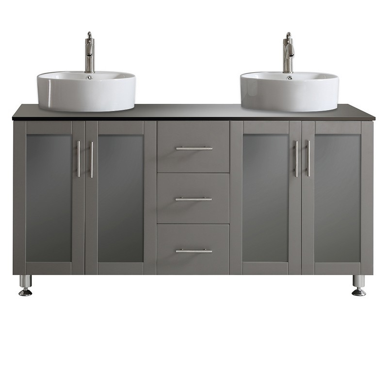 Vinnova 945060 Gr Bg Nm Tuscany 60 Inch Double Vanity In Grey With White Vessel Sink With Glass Countertop Without