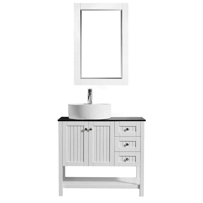 Vinnova 956036 Wh Bg Modena 36 Inch Vanity In White With Glass
