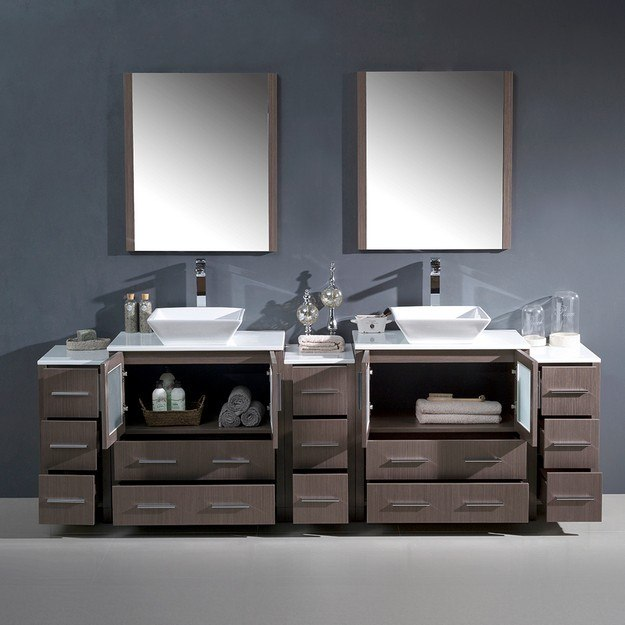 96 Inch Bathroom Vanity Home Depot: FVN62-96GO-VSL Torino 96 Inch Gray Oak Modern Double Sink