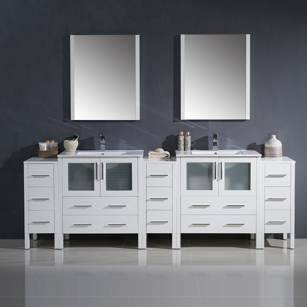96 Inch Bathroom Vanity Home Depot: Fresca FVN62-96WH-UNS Torino 96 Inch White Modern Double