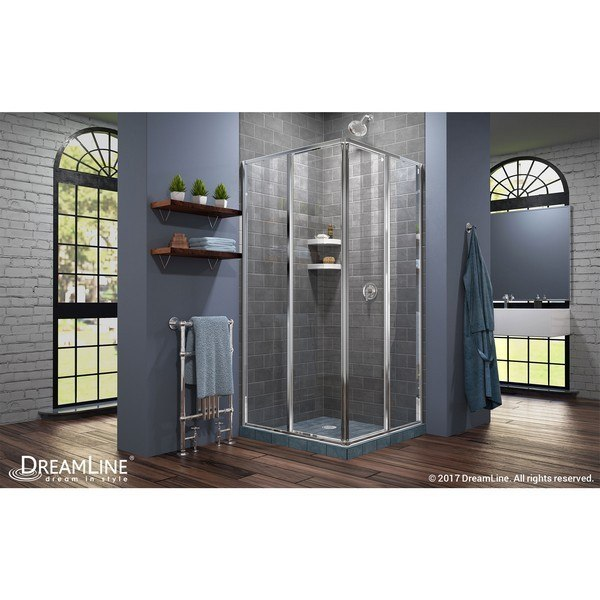 Cornerview Shower Enclosure RS28 Chrome Closed Door
