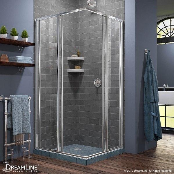 Cornerview Shower Enclosure RS28 Chrome Open Tile