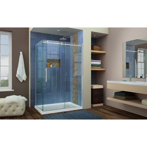 Enigma Air Shower Enclosure RS42 48D Right Drain Brushed Nickel
