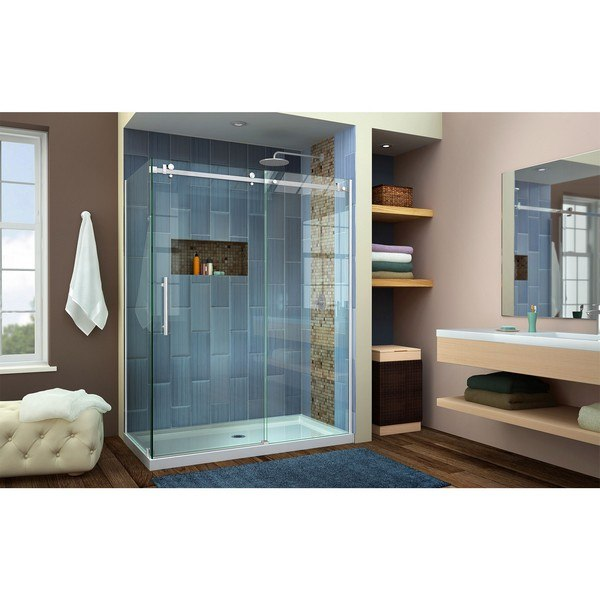 Enigma Air Shower Enclosure RS42 60D Center Drain Brushed Nickel