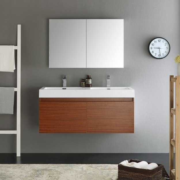 Fvn8012tk Senza Mezzo 48 Inch Teak Wall Hung Double Sink