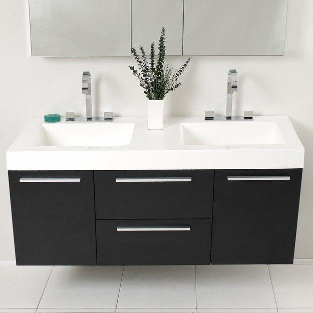 Fresca FVNBW Opulento Inch Black Modern Double Sink Bathroom - 54 inch bathroom vanity double sink