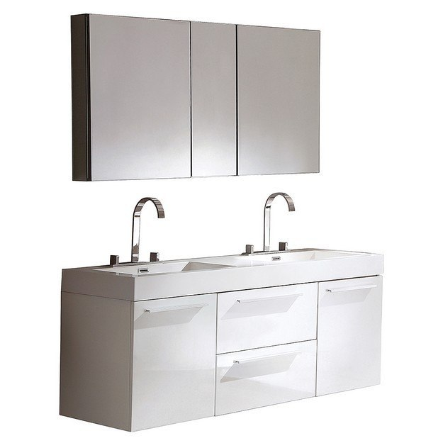 54 bathroom vanity double sink fresca fvn8013wh opulento 54 inch white modern sink 21845