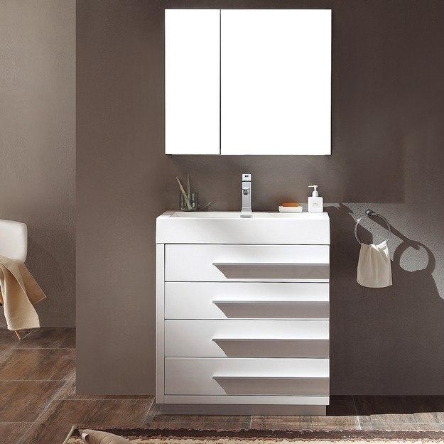 FVN8030WH Livello 29.38 Inch White Modern Bathroom Vanity ...
