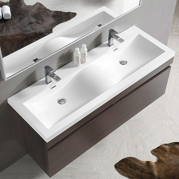 Fvn8040go Largo 56 63 Inch Gray Oak Modern Bathroom Vanity