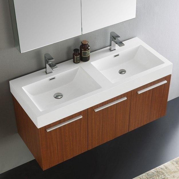 Fvn8092tk d senza vista 48 inch teak wall hung double sink - 48 inch double sink bathroom vanity ...