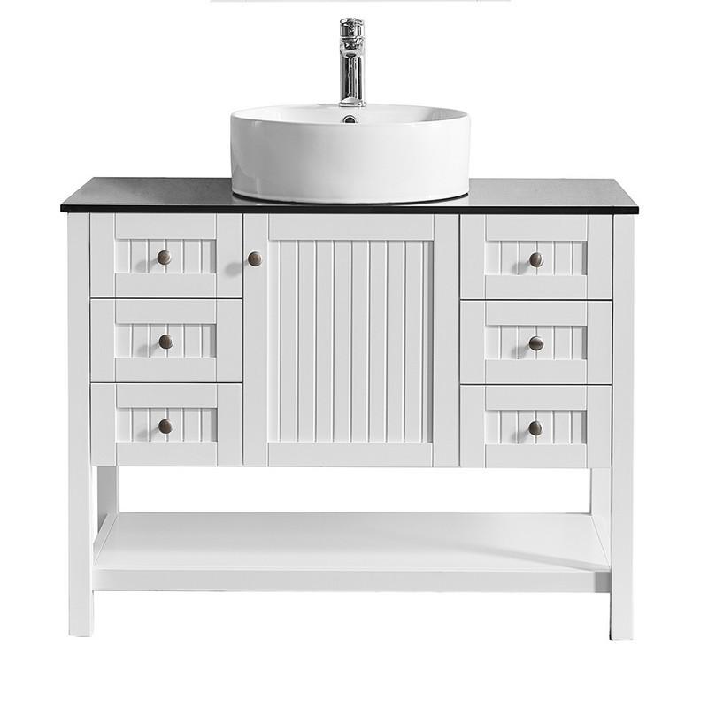 Vinnova 956042 Wh Bg Nm Modena 42 Inch, 42 Inch Bathroom Vanity Without Top