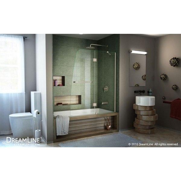 Aqua Modern Tub Door Brushed Nickel Interior