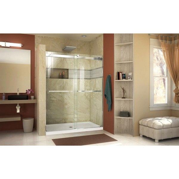Essence Shower Door 60 Chrome with Center Drain