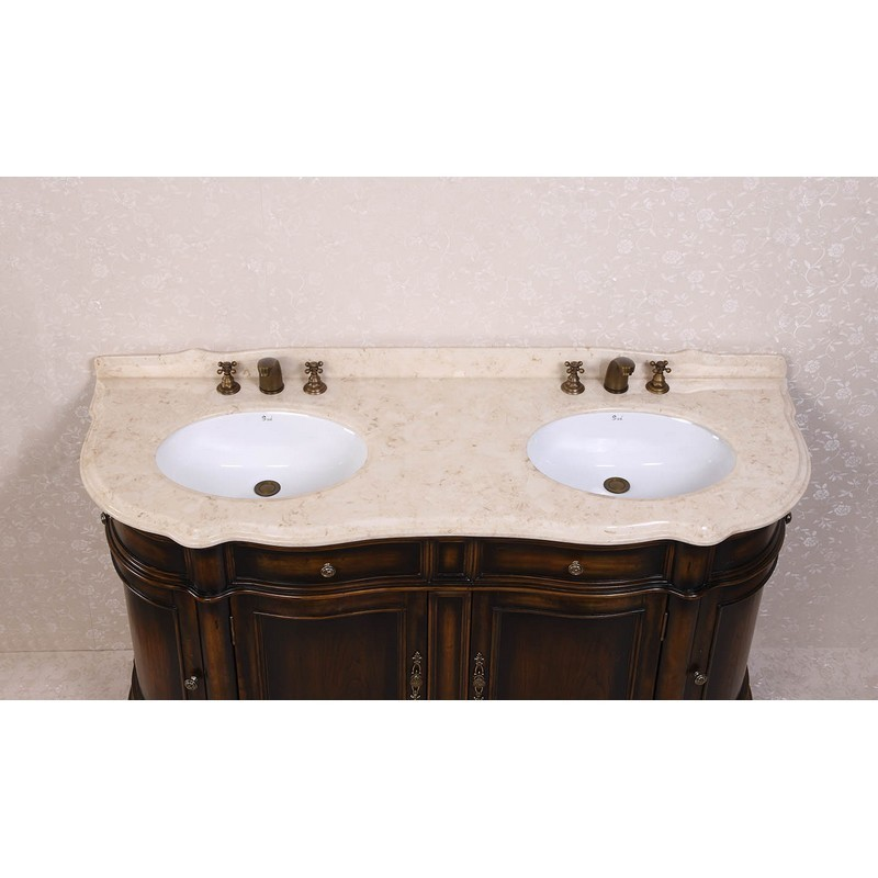 Legion Furniture Wh3066 Vanity 66 Inch Solid Wood Sink Vanity With Marble No Faucet And Backsplash In Antique Brown