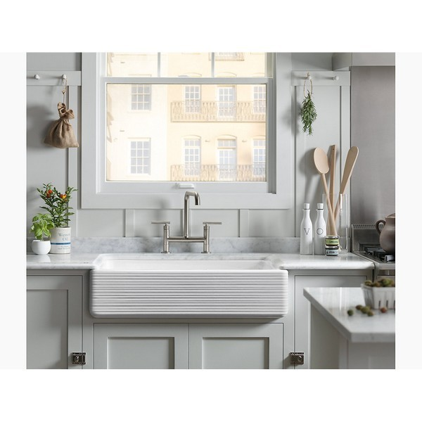 Kohler 6351 0 Whitehaven 36 Inch Single Basin Farmhouse Cast Iron Kitchen Sink With Hayridge Design And Self Trimming