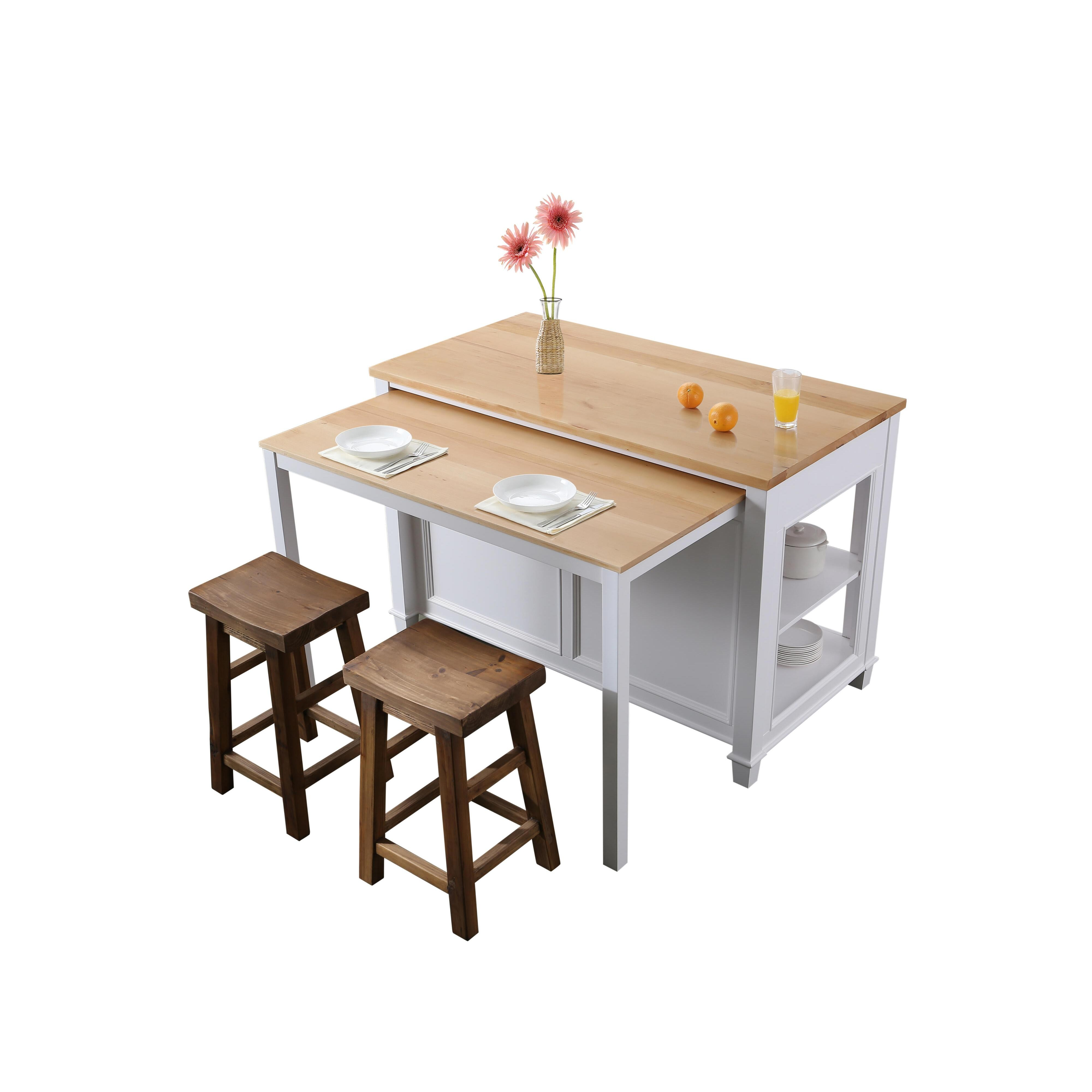 Design Element Kd 01 W Medley 54 Inch Kitchen Island With Slide Out Table In White Kd 01 W Kd01w