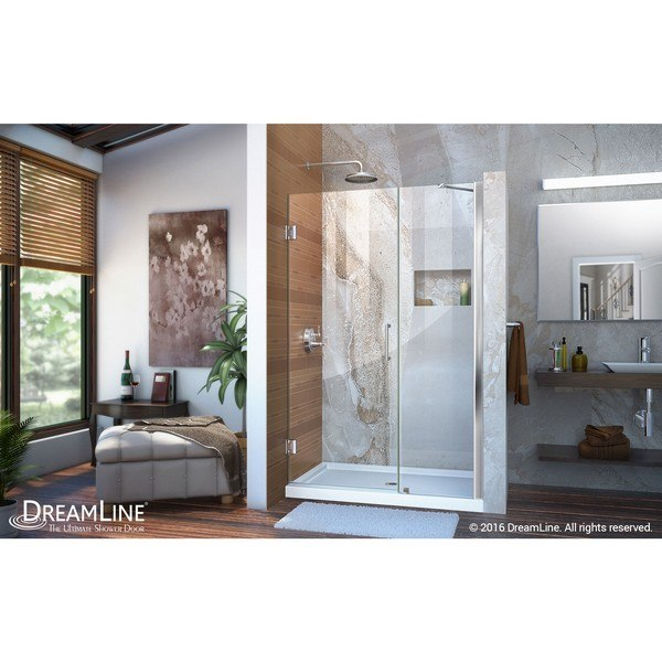 Shower Door With Base Support Arm in Chrome