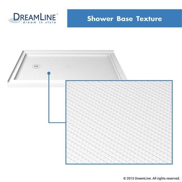 Double Threshold Shower Base Left Drain Texture in White