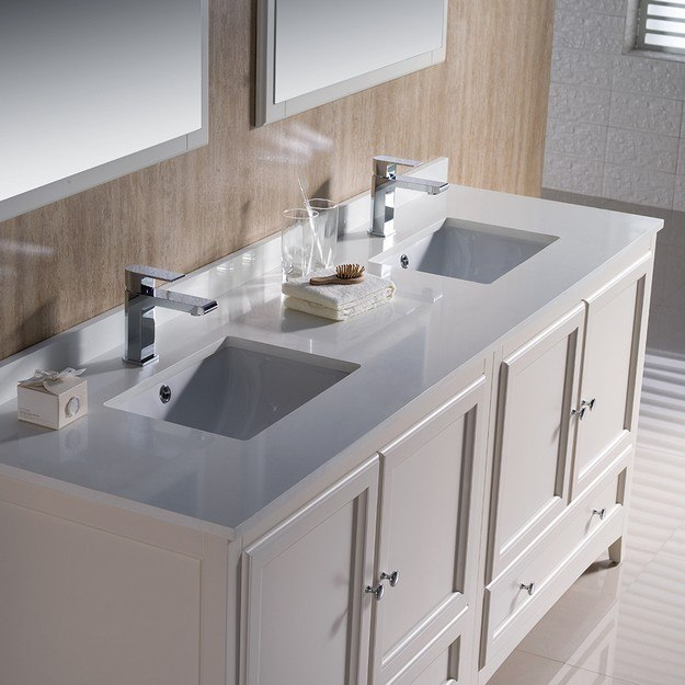Fvn20 3636aw oxford 72 inch antique white traditional - Antique white double sink bathroom vanities ...