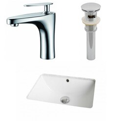 AMERICAN IMAGINATIONS AI-12965 18.25 X 13.5 INCH RECTANGLE UNDERMOUNT SINK SET IN WHITE WITH SINGLE HOLE FAUCET AND DRAIN