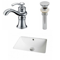 AMERICAN IMAGINATIONS AI-12959 18.25 X 13.5 INCH RECTANGLE UNDERMOUNT SINK SET IN WHITE WITH SINGLE HOLE FAUCET AND DRAIN
