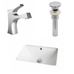 AMERICAN IMAGINATIONS AI-12955 18.25 X 13.5 INCH RECTANGLE UNDERMOUNT SINK SET IN WHITE WITH SINGLE HOLE FAUCET AND DRAIN