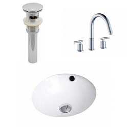 AMERICAN IMAGINATIONS AI-12953 16.5 X 16.5 INCH ROUND UNDERMOUNT SINK SET IN WHITE, FAUCET AND DRAIN