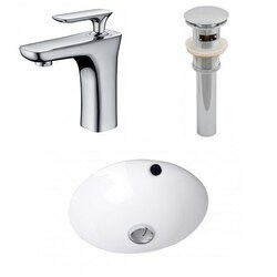 AMERICAN IMAGINATIONS AI-12939 16.5 X 16.5 INCH ROUND UNDERMOUNT SINK SET IN WHITE WITH SINGLE HOLE FAUCET AND DRAIN