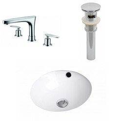 AMERICAN IMAGINATIONS AI-12937 16.5 X 16.5 INCH ROUND UNDERMOUNT SINK SET IN WHITE, FAUCET AND DRAIN