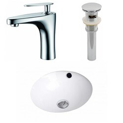 AMERICAN IMAGINATIONS AI-12935 16.5 X 16.5 INCH ROUND UNDERMOUNT SINK SET IN WHITE WITH SINGLE HOLE FAUCET AND DRAIN