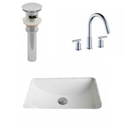 AMERICAN IMAGINATIONS AI-12923 20.75 X 14.35 INCH RECTANGLE UNDERMOUNT SINK SET IN WHITE, FAUCET AND DRAIN