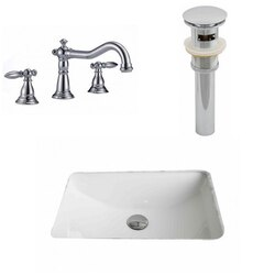 AMERICAN IMAGINATIONS AI-12921 20.75 X 14.35 INCH RECTANGLE UNDERMOUNT SINK SET IN WHITE, FAUCET AND DRAIN