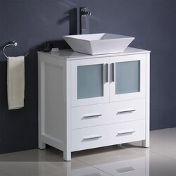 FRESCA FCB6230WH-CWH-V TORINO 30 INCH WHITE MODERN BATHROOM CABINET WITH TOP AND VESSEL SINK