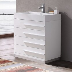 FRESCA FCB8030WH-I LIVELLO 30 INCH WHITE MODERN BATHROOM CABINET WITH INTEGRATED SINK