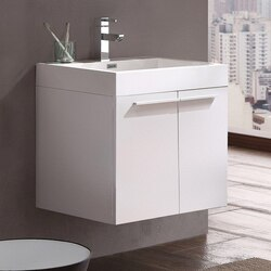 FRESCA FCB8058WH-I ALTO 23 INCH WHITE MODERN BATHROOM CABINET WITH INTEGRATED SINK
