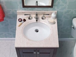 RONBOW 301125-8-MY 25 X 22 INCH MARBLE VANITY TOP IN CREAM BEIGE WITH 8 INCH WIDESPREAD FAUCET HOLE