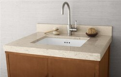 RONBOW 303331-1-MY WIDEAPPEAL 31 X 22 INCH MARBLE VANITY TOP IN CREAM BEIGE - 2 INCH THICK