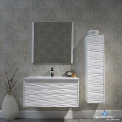 BLOSSOM 008 36 01 SC PARIS 36 INCH VANITY SET WITH SIDE CABINET AND MIRROR IN GLOSSY WHITE