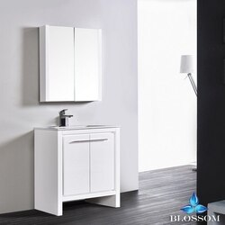 BLOSSOM 014 30 01 MC MILAN 30 INCH VANITY SET WITH MEDICINE CABINET IN GLOSSY WHITE