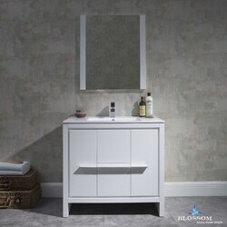 BLOSSOM 014 36 01 M MILAN 36 INCH VANITY SET WITH MIRROR IN GLOSSY WHITE