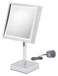 APTATIONS 71243 SINGLE-SIDED LED SQUARE PLUG-IN FREE STANDING MIRROR IN CHROME