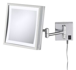 APTATIONS 91273 SINGLE-SIDED LED SQUARE PLUG-IN WALL MIRROR IN BRUSHED NICKEL
