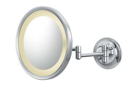 APTATIONS 944-2-HW 9-5/8 INCH ROUND MAGNIFIED MIRROR WITH SWITCHABLE LIGHT COLOR