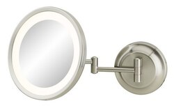 APTATIONS 944-35-75HW SINGLE-SIDED LED ROUND MAGNIFIED MAKEUP WALL MIRROR IN BRUSHED NICKEL