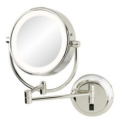 APTATIONS 945-35-85HW NEOMODERN LED LIGHTED HARDWIRED WALL MIRROR IN POLISHED NICKEL