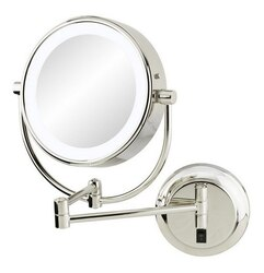 APTATIONS 945-55-85HW NEOMODERN LED LIGHTED HARDWIRED WALL MIRROR IN POLISHED NICKEL