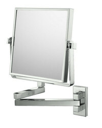 APTATIONS 24073 SQUARE DOUBLE ARM WALL MIRROR IN BRUSHED NICKEL