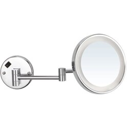 NAMEEKS AR7703-CR-5X GLIMMER ROUND WALL MOUNTED 5X MAKEUP MIRROR WITH LED