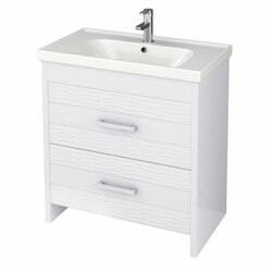 NAMEEKS LOT-F01 LOTUS 31 INCH WHITE VANITY CABINET WITH FITTED SINK